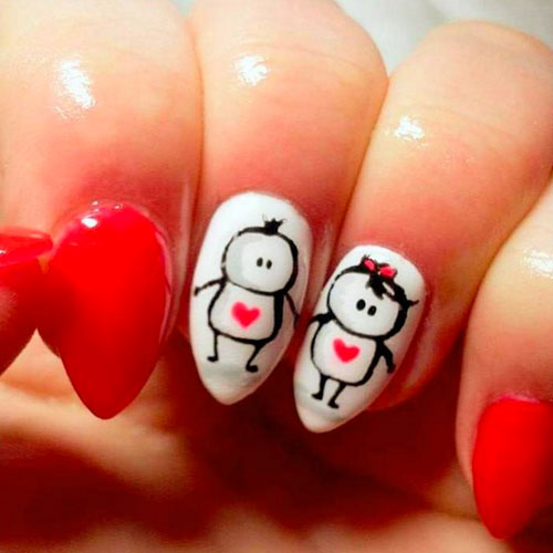 Cute Couple Nail Art - Valentines Nails
