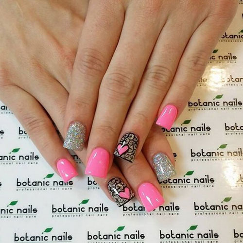 Cute Hot Pink Valentines Day Nail Designs