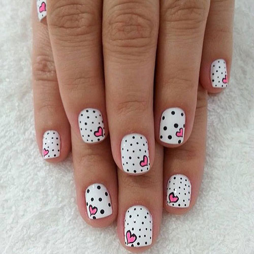 Cute Manicures - Pink and Black Nail Designs - Valentines Nails