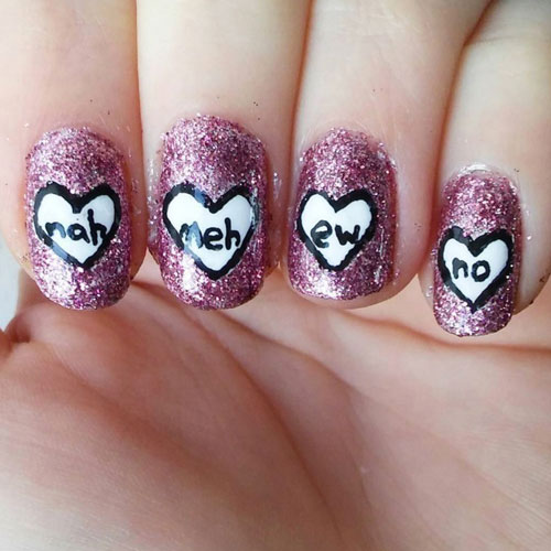 Cute Anti Valentines Day Nail Designs