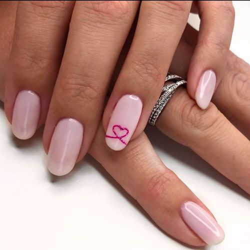 Hot Pink Nail Designs - Heart Nail Designs