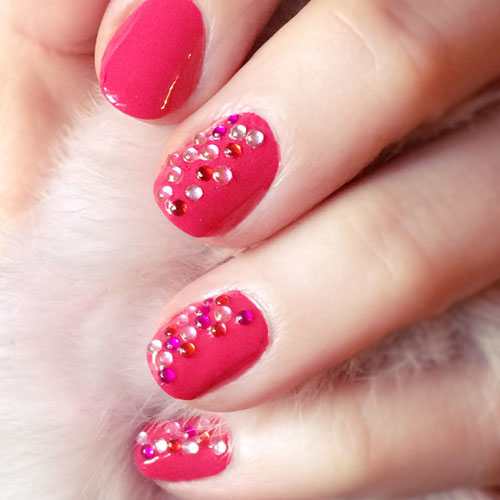 Hot Pink Sparkle Nail Designs - Valentine Nail Designs