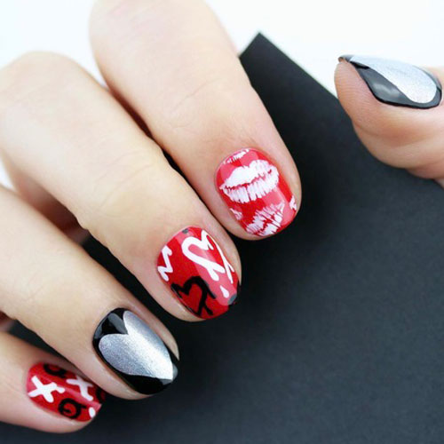 Hot Valentine's Day Nail Designs - Black and Red Nail Designs