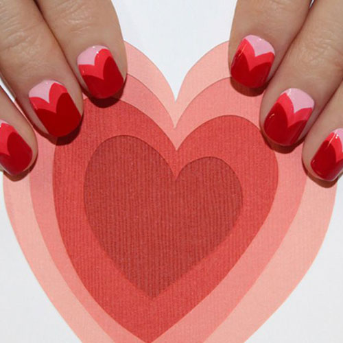 Multi Heart Valentines Nails - Nail Art and Designs