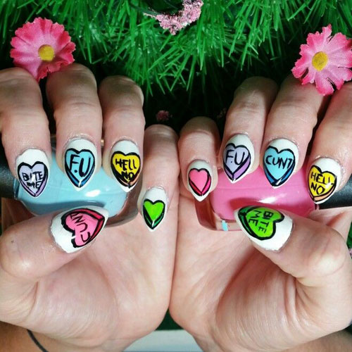Perfect Candy Heart Nail Designs - Anti Valentines Nails
