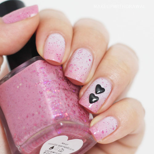 Pink and Black Nail Designs Heart Nail Designs - Valentine Nails