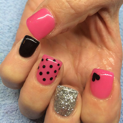 Pink and Black Nail Designs - Valentine Nails
