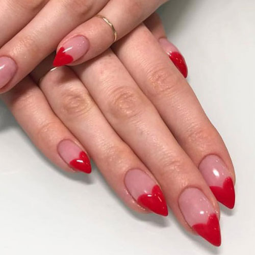 Red Heart Tip Stiletto Valentines Day Nail Designs