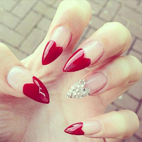 Red Heart Tip Stiletto with Jewels - Valentines Day Nail Designs