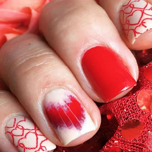 Red and White Valentines Day Nail Designs