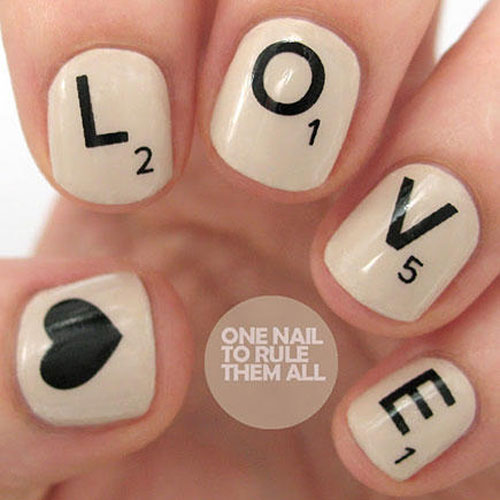 Scrabble Nail Art - Love Nail Designs