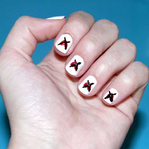 Simple Nail Art - Anti Valentines Day Nail Designs