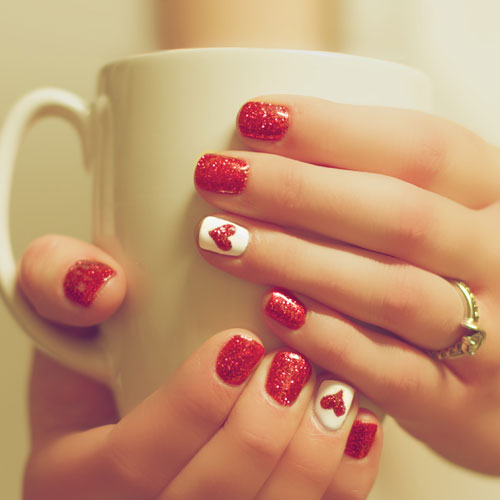 Simple Valentine Nail Designs - Red and White Nail Colors