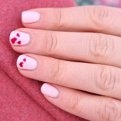 Small Heart Nail Designs - Pink and Red Nail Color