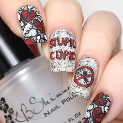 Stupid Cupid Anti Valentines Day Nail Designs