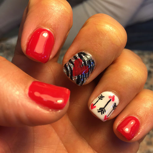 Valentine Nail Designs - Red and Black Nail Color