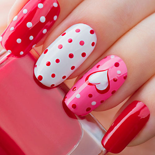Valentines Day Nails - Hot Pink, Red and White Nail Color