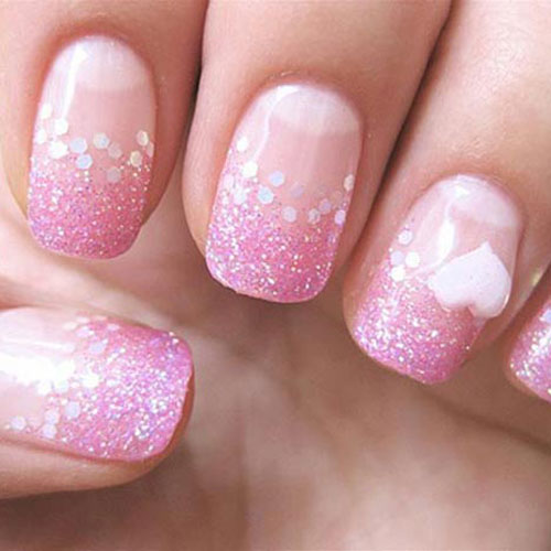 Valentines Nails - Pink Glitter Nail Ideas