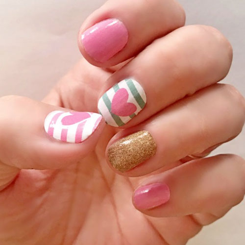 Valentines Nails - Pink and Gold Nail Color