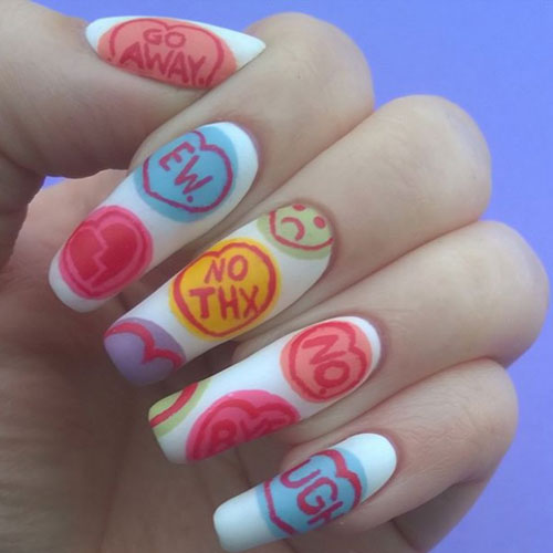White Candy Hearts Anti Valentines Day Nail Designs