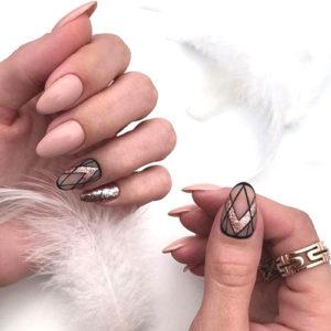 Abstract Rose Gold Nails - Pink and Gold Nails
