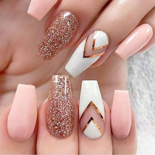 Baby Pink and Rose Gold Nails - Rose Gold Glitter Nails