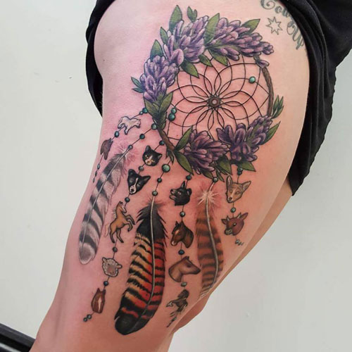 Beautiful Dream Catcher on Thigh Tattoo - Dreamcatcher Feathers