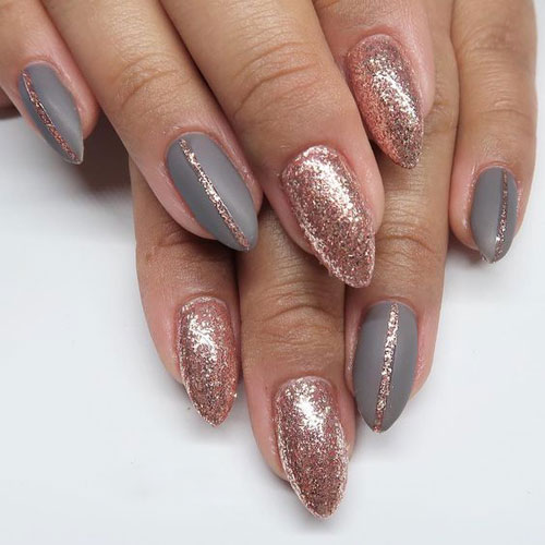 Best Rose Gold Nails - Rose Gold Glitter