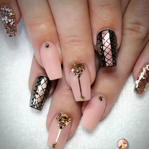 Black and Rose Gold Lace Up Nails Designs - Rose Gold Nail Art