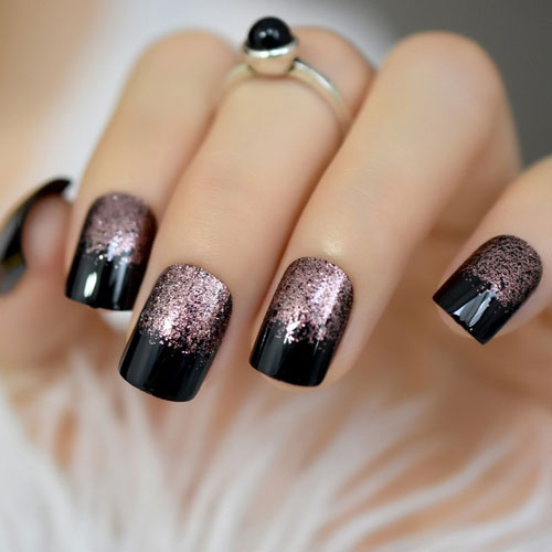 Black and Rose Gold Nails - Rose Gold Glitter Accents