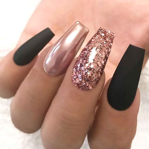 Black and Rose Gold Nails - Rose Gold Glitter Nails - Rose Gold Chrome Nail Polish