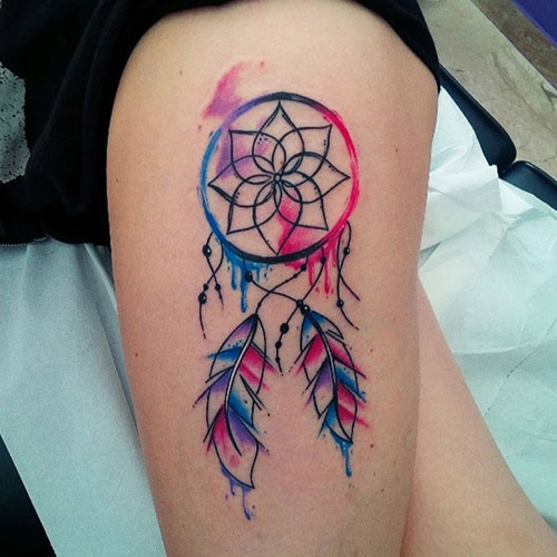 Colorful Watercolor Dream Catcher Tattoo On Thigh