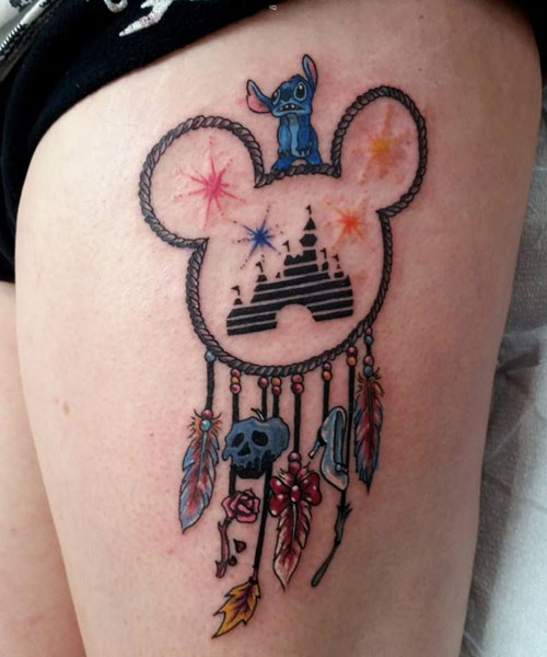 Disney Dream Catcher Tattoo On Thigh - Sexy Thigh Tattoo Idea