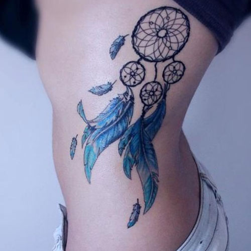 Dream Catcher Tattoo Designs and Ideas - Rib Dreamcatcher