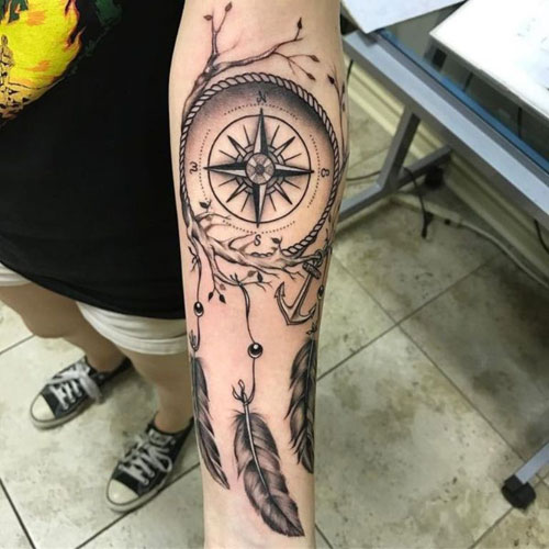 Dream Catcher Tattoo On Arm - Compass Dreamcatcher