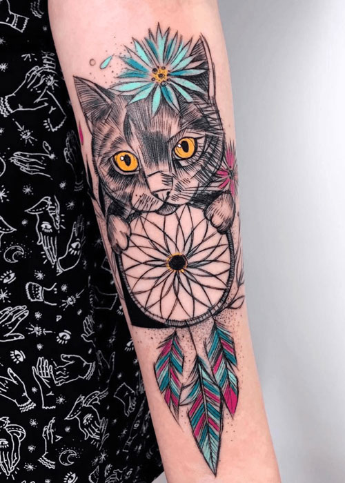 Dream Catcher Tattoo On Arm With Cat