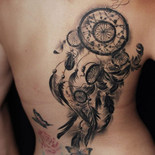 Dream Catcher Tattoo On Back - Large Dreamcatcher Design
