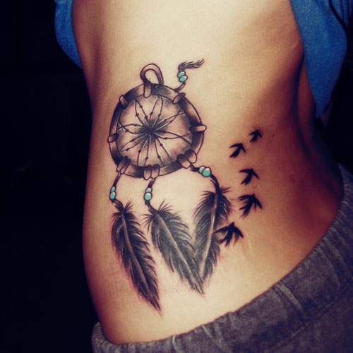 Dreamcatcher Rib Tattoo with Birds
