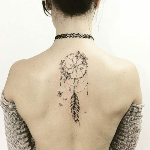 Elegant Dream Catcher Tattoo On Back