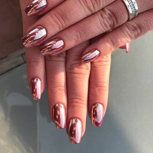Gorgeous Rose Gold Chrome Nails - Chrome Nail Art