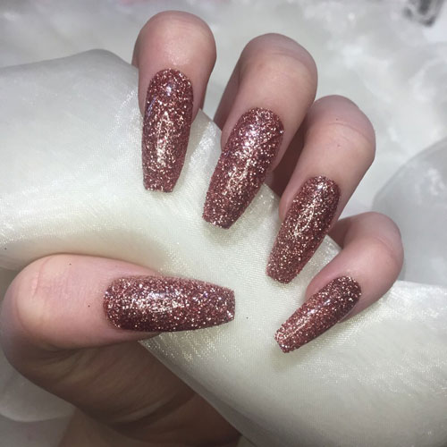 Long Rose Gold Glitter Nails