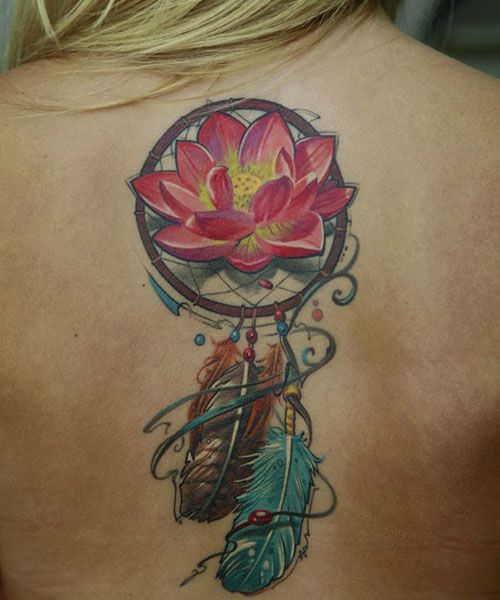 Lotus Flower Dream Catcher Tattoo Design