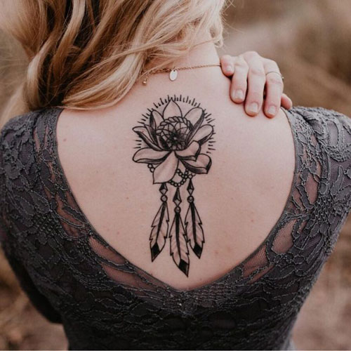 Lotus Flower with Dreamcatcher Tattoo On Back