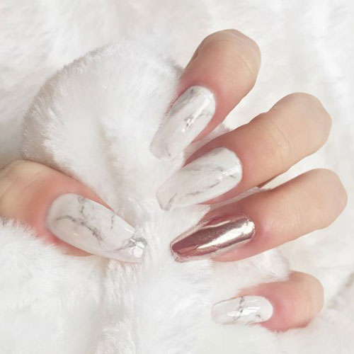 Marble and Rose Gold Chrome Nails