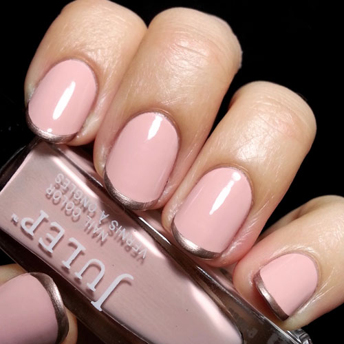 Pink Nails with Rose Gold Manicure - Rose Gold Nail Designs