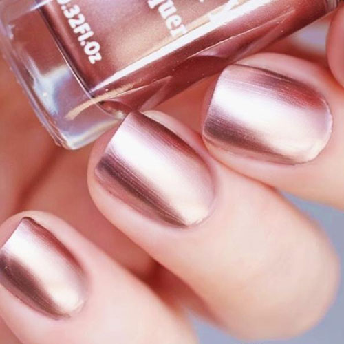 Rose Gold Chrome Nails - Rose Gold Nail Designs