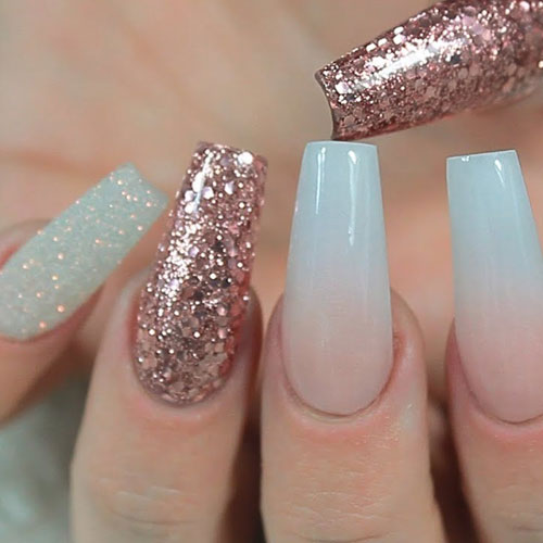 Rose Gold Glitter Accent Nails - Gold Nail Designs