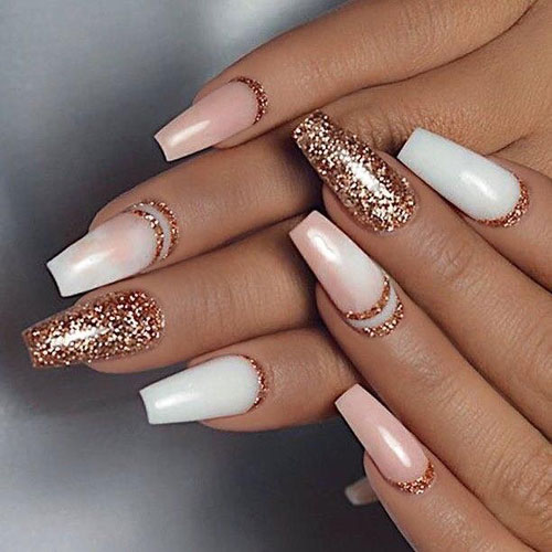 Rose Gold Glitter Nails With Glitter Accents