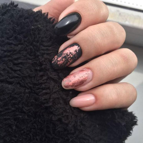 Rose Gold Nail Polish - Black and Rose Gold Nails