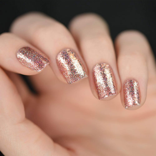 Rose Gold Nail Polish - Rose Gold Glitter Nails